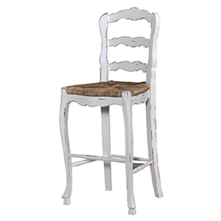 Ladderback rush seat bar height stool set of 2 white