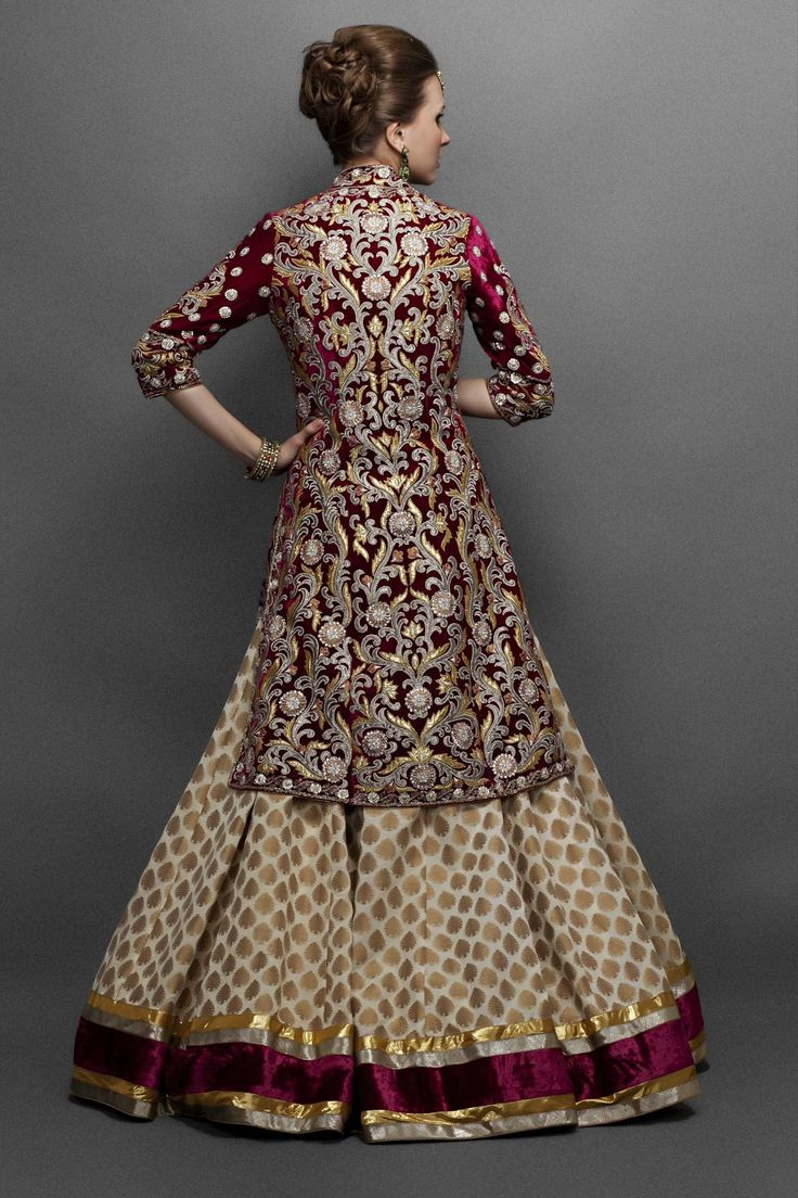 Cream Georgette Lehenga Paired with Wine Velvet Jacket- Back