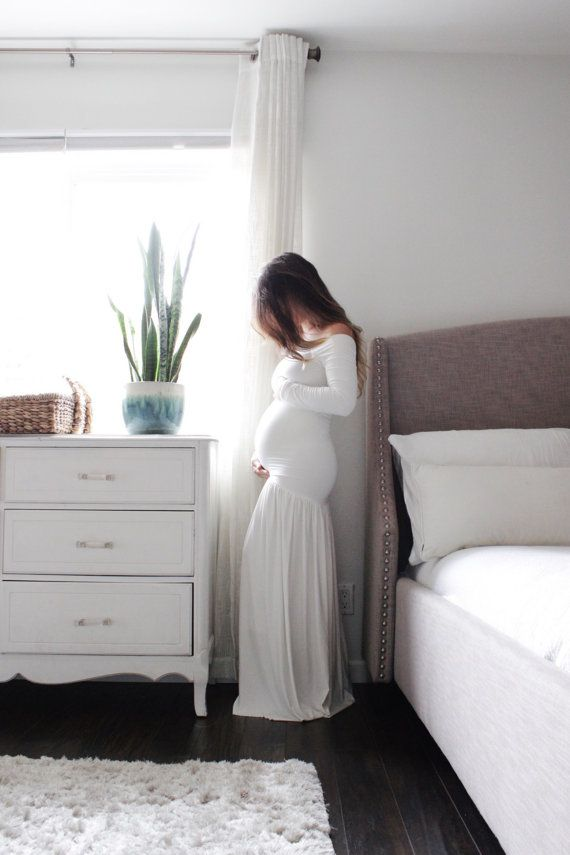 Maternity dress white Long sleeve maternity gown drop by EmbieBaby