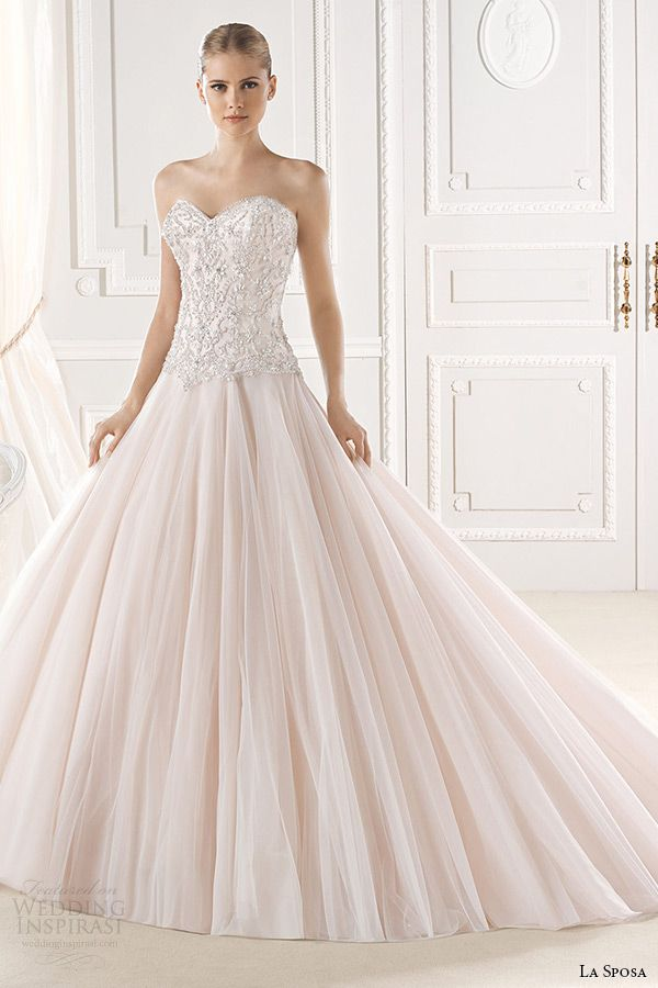 la sposa bridal 2015 wedding dress pink blush sweetheart neckline embellished bodice a line wedding dress eresa