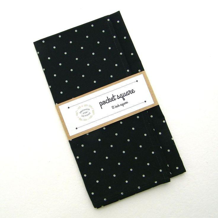 Black and White Spot Cotton Pocket Square