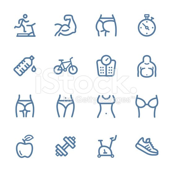 Fitness line icons royalty-free stock vector art