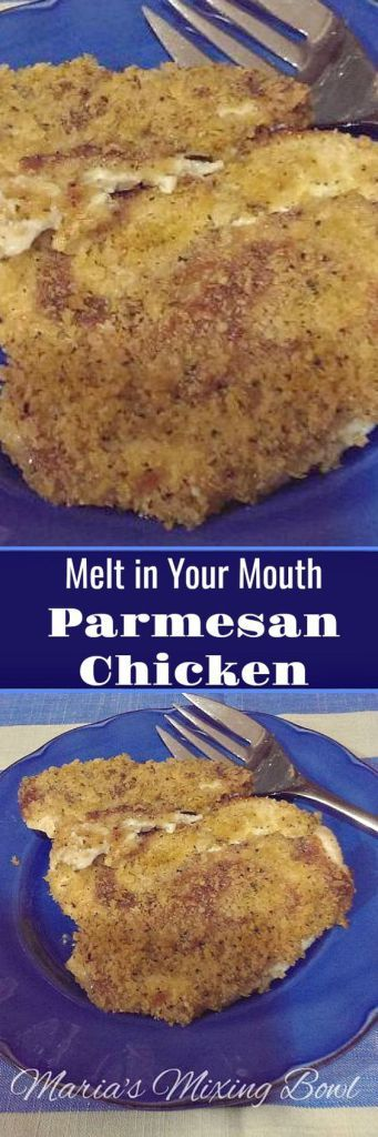 Melt in Your Mouth Parmesan Chicken is my go to dinner when I'm short on time and just can't think of what to make for dinner. It's easy, delicious and always a hit.