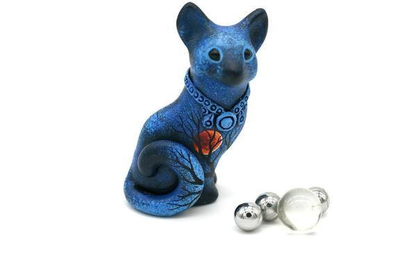 Sitting Cat Figurine Animal Miniature Moon Wanderer halloween totem animal sculpture polymer clay animals, velvet clay, resin casting