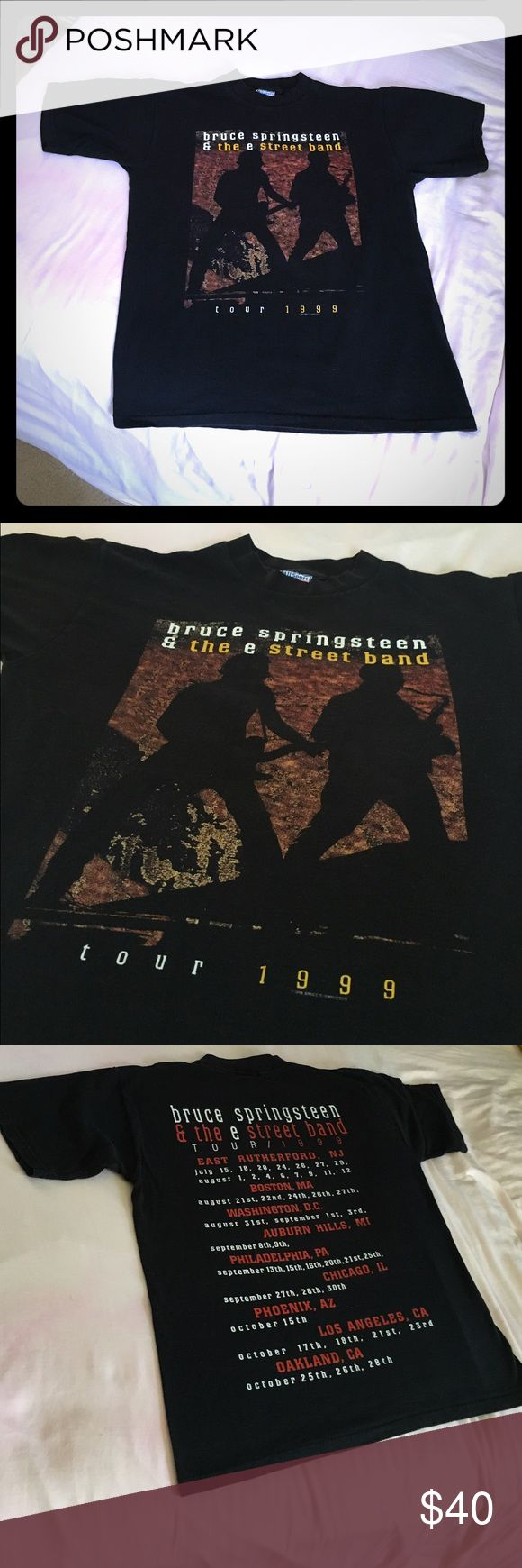Beautiful Bruce Springsteen 1999 Tour Tee . A+🎼🎬 Large & a fantastic vintage beauty . Great logo with tour dates on back . Bruce Springsteen 1999  .... wear this & you feel like you back in your Glory Days🎼 Vintage Tops Tees - Short Sleeve