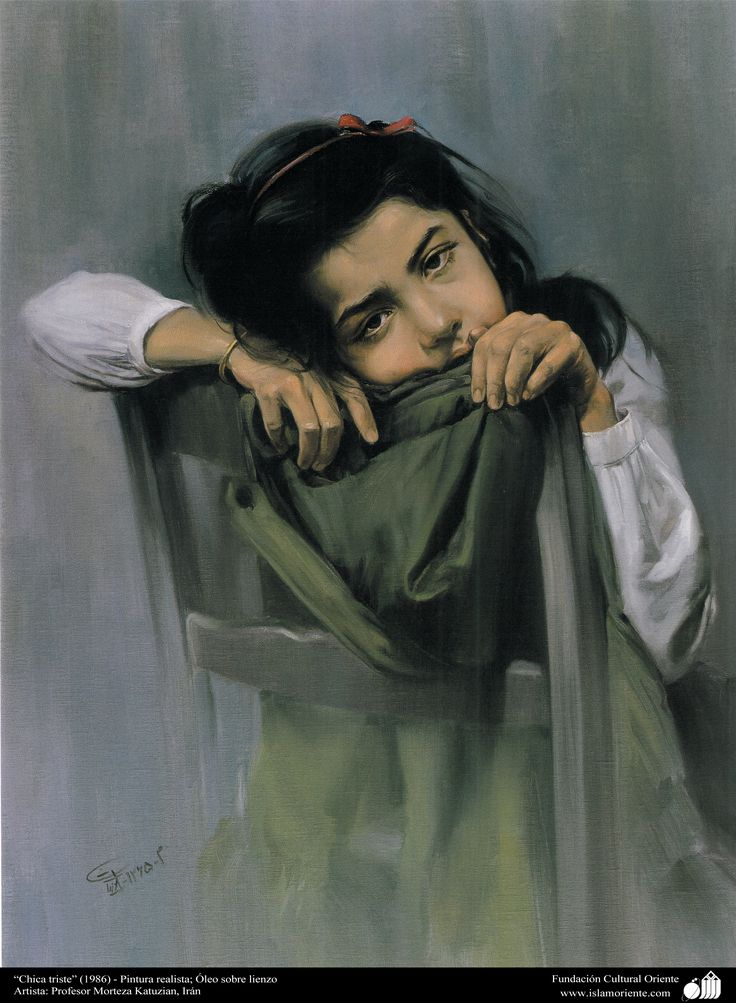 """""""Chica triste"""" (1986) - Pintura realista; Óleo sobre lienzo- Artista: Profesor Morteza Katuzian, Irán   Galería de Arte Islámico y Fotografía"""