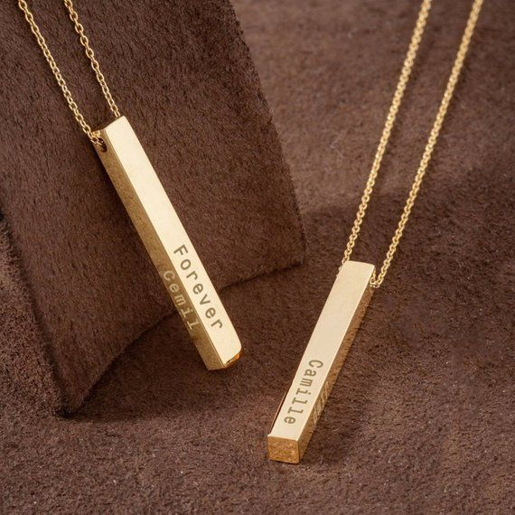 14k 18k Real Gold Personalized Vertical 3 Cm Bar Necklace Etsy Bar Pendant Necklace Gold Bar Necklace Bar Necklace