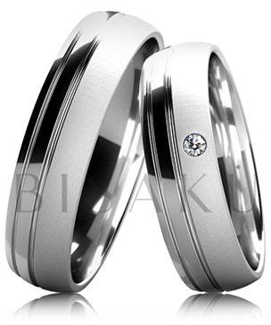 B33 Snubní prsteny z bílého zlata v kombinaci saténového matu a dvojitého lesklého proužku. Dámský prsten zdobený kamenem. #bisaku #wedding #rings #engagement #svatba #snubni #prsteny