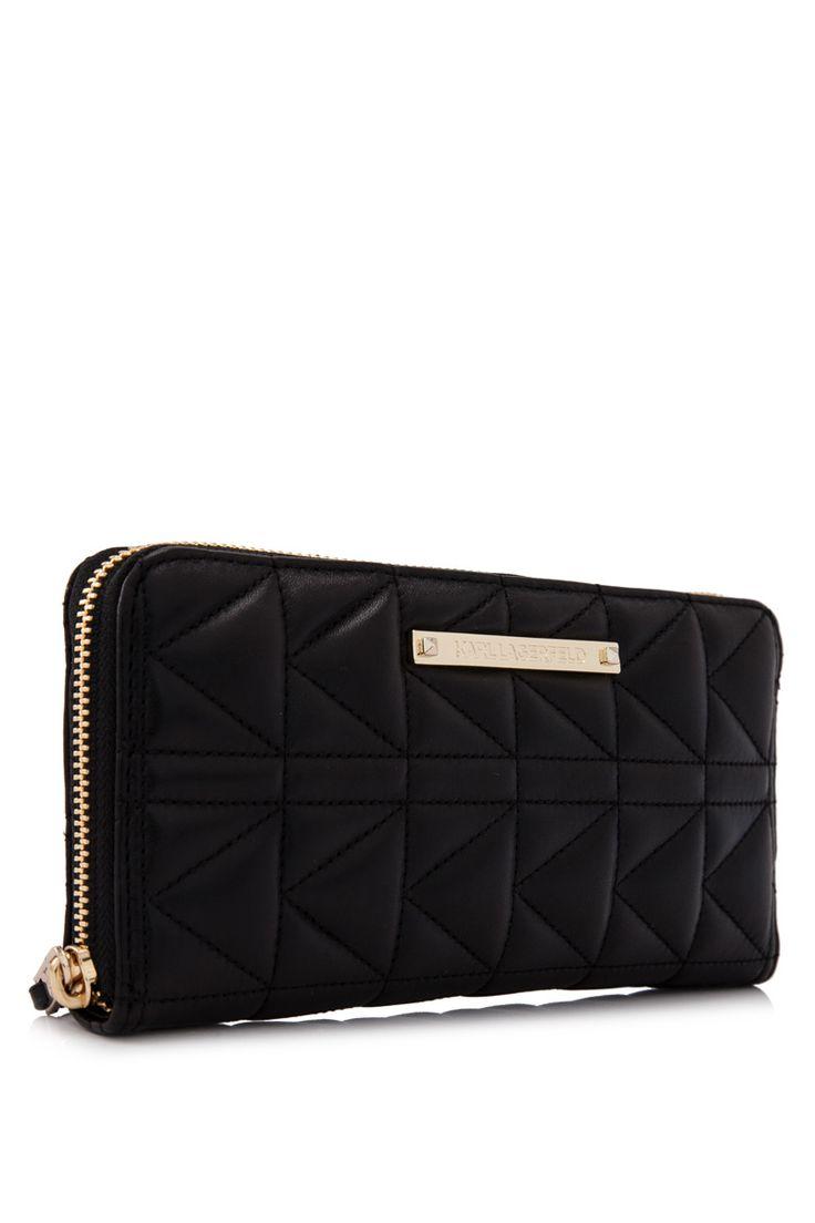 Karl Lagerfeld Kuilted Continental Wallet Black (Designer Colour) - KARL LAGERFELD