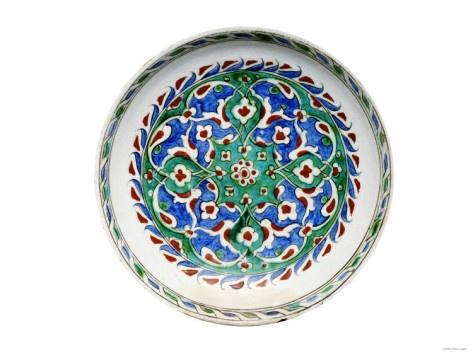 A Rimless Iznik Pottery Dish, circa 1600