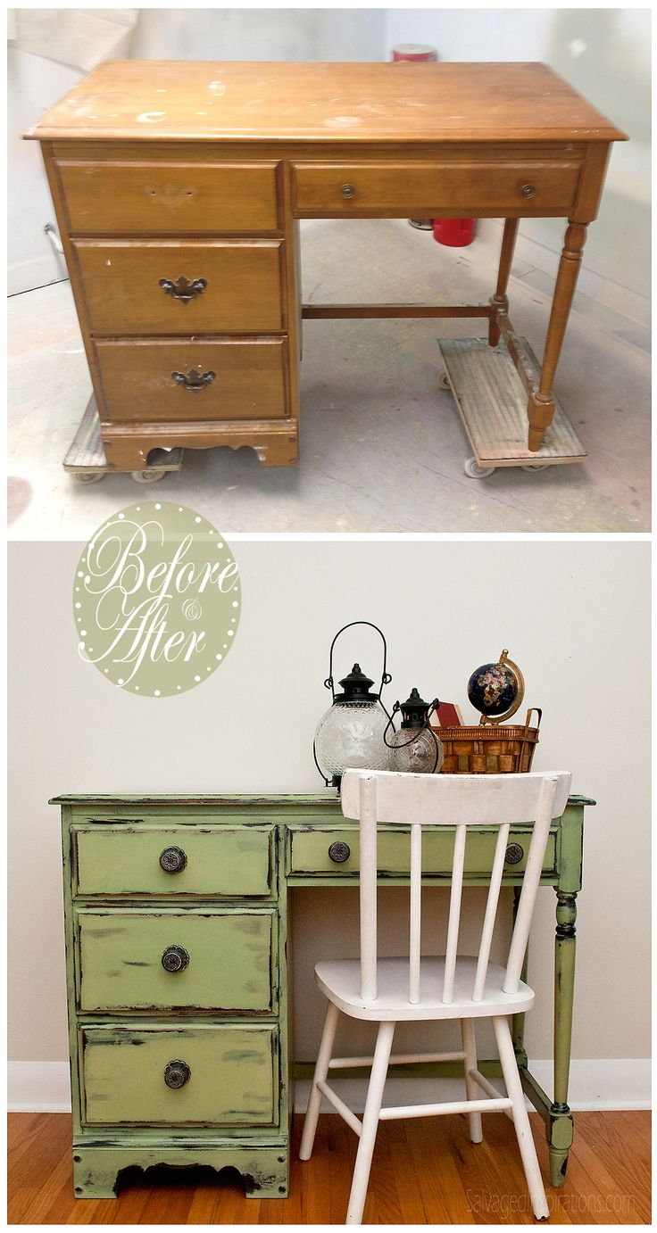 Salvaged Inspirations   Here is an outdated desk I restyled  It was painted  in MMS  Distressed DeskGreen Distressed FurnitureDistressed. Best 25  Green distressed furniture ideas on Pinterest   DIY