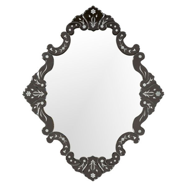 TRADITIONAL VENETIAN WALL MIRROR  Traditional Frameless Mirror with Etched Glass Pattern      Beautiful Hand Bevelled Glass Individually Shaped     Classic Bathroom Mirror  $395 - Overall Size: 91 x 112cm