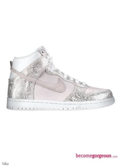 Nike Dunk High Top Silver Sneakers