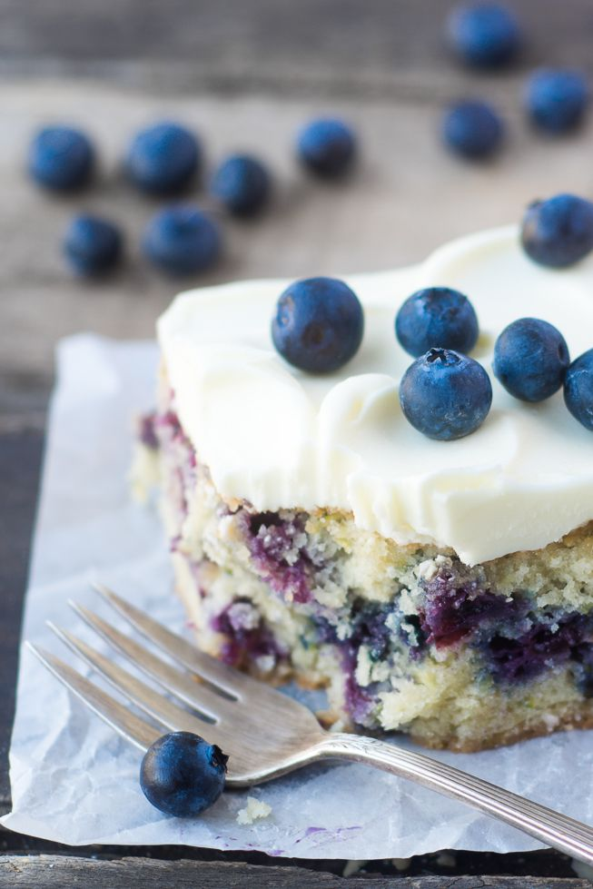 Blueberry Zucchini Snack Cake with Lemon Buttercream | theviewfromgreatisland.com