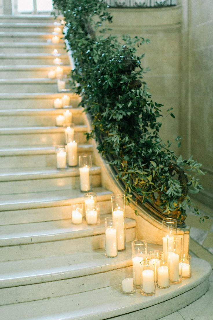 A Stylish Modern Wedding In Toronto Weddingbells Candle Lit Wedding Wedding Staircase Wedding Stairs