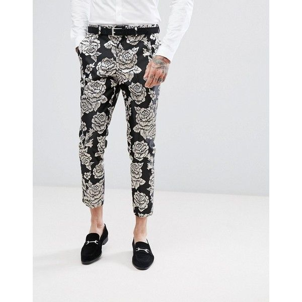 Devils Advocate Silver Floral Embroidered Skinny Fit Cropped Suit... (245 MYR) ❤ liked on Polyvore featuring men's fashion, men's clothing, men's pants, men's dress pants, black, mens skinny pants, mens silver dress pants, mens floral print pants, mens cropped pants and mens skinny suit pants