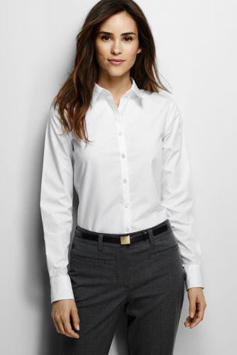 Women 39 s long sleeve no iron shirt i love classic white for No iron white shirt womens