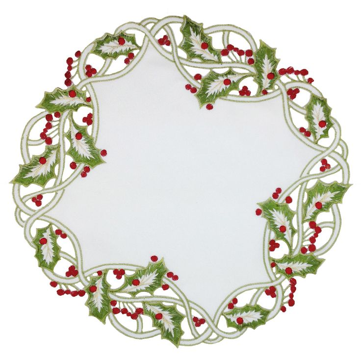 Xia Home Fashions Holiday Holly Embroidered Cutwork Round Doily
