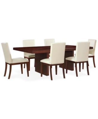 Bari white 7 pc dining set table 6 chairs macy 39 s for Dining room tables 36 x 72