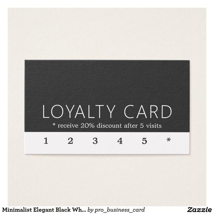 Minimalist Elegant Black White Loyalty Card