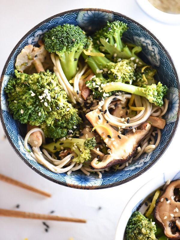Broccoli and Shiitake Mushrooms With or Without Soba Noodles - foodiecrush