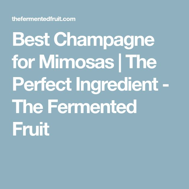 Best Champagne for Mimosas | The Perfect Ingredient - The Fermented Fruit