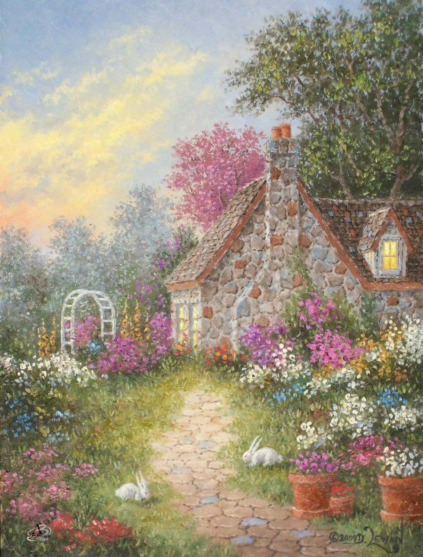 White Rabbit Lane - Dennis Lewan (cottage, art, illustration)