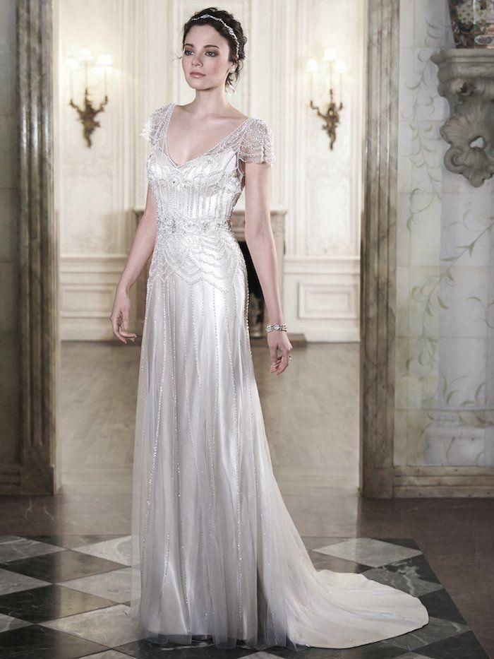 Vintage Hochzeitskleid Dekoriert Mit Kristallen Braut Make Up