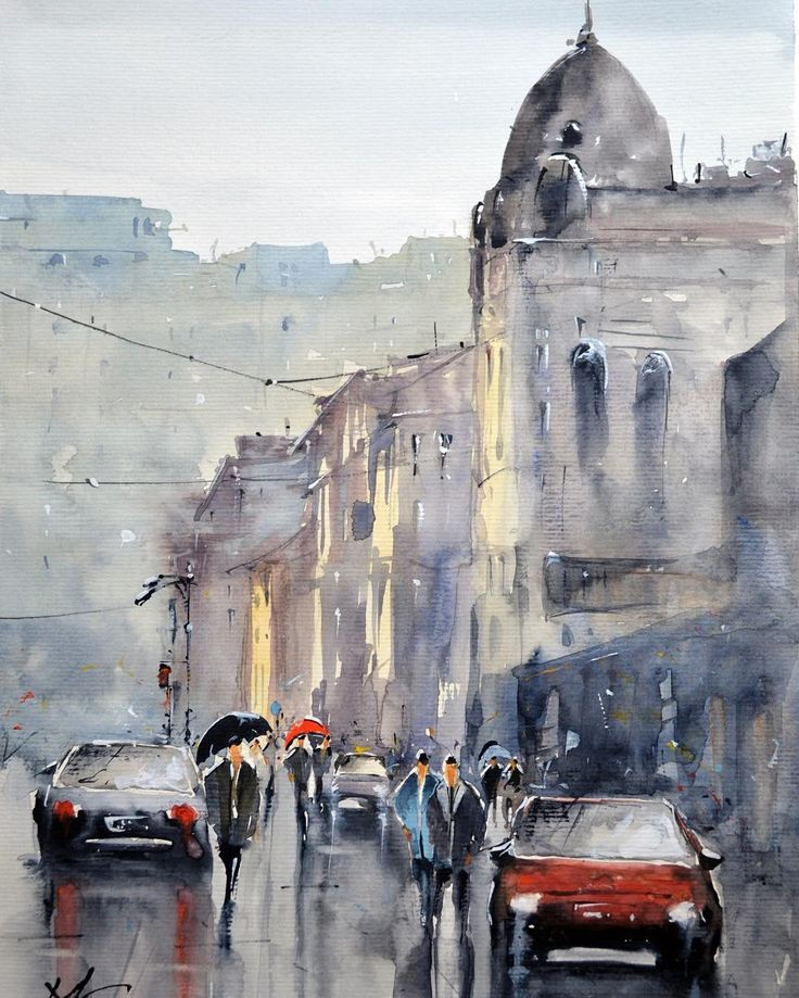 The last sunlight after the rain - watercolor painting by Maria Cornea