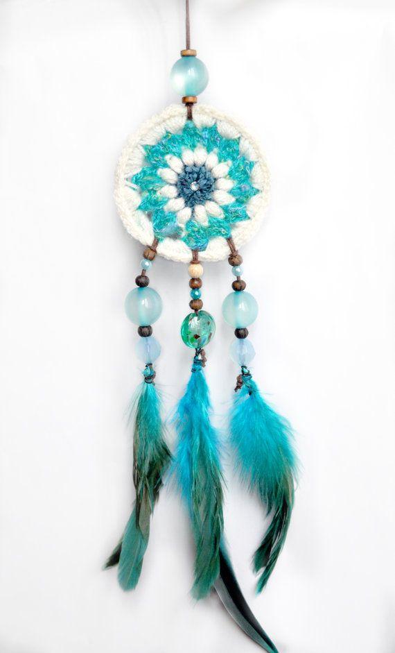 Blue dreamcatcher, Boho dreamcatcher, Boho bedroom decor, Beach dreamcatcher,Summer dreamcatcher, Crochet dreamcatcher, Flower dreamcatcher