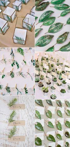 botanical themed greenery wedding escort cards