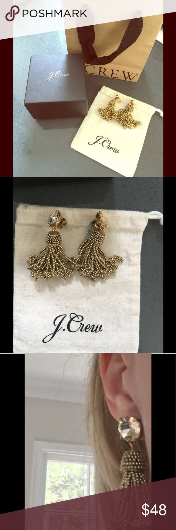 New w/ tag J.Crew Gold Tassel Earrings New w/ tag J.Crew Gold Tassel Earrings. Includes dust bag- gift box -mini shopping bag.   trend right  tassel earring. J. Crew Jewelry Earrings