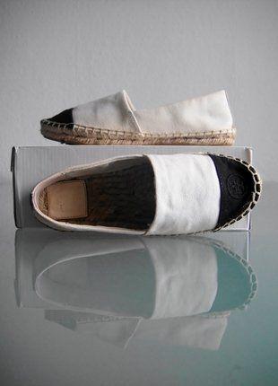Kaufe meinen Artikel bei #Kleiderkreisel http://www.kleiderkreisel.de/damenschuhe/ballerinas/149499599-tory-burch-espadrille-schuhe-schwarz-weiss-gr-36