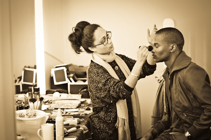 Connie doing make-up for The Summit's Androgyny shoot