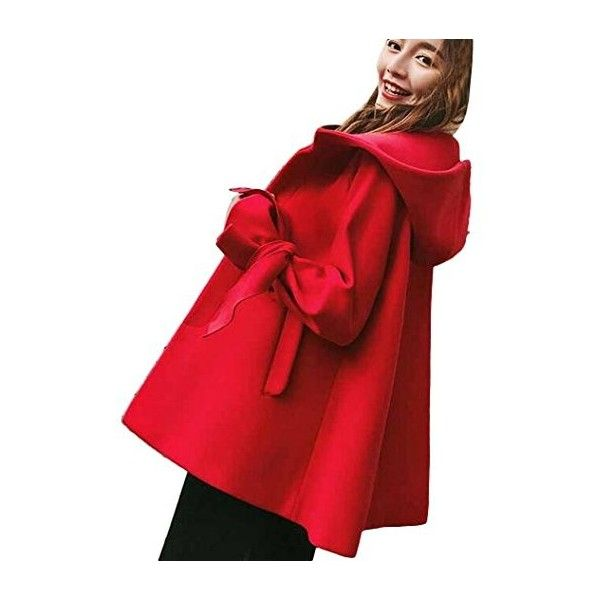 Partiss Women's Outwear Fashion Winter Cloak Capes Cardigans Coat (530 CNY) via Polyvore featuring outerwear, coats, cardigan coat, red cape coat, cape coats, red coat and red cardigan jacket