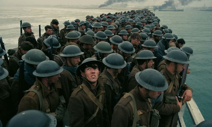 Soldiers waiting to be rescued from the Nazi's in Christopher Nolan's Dunkirk