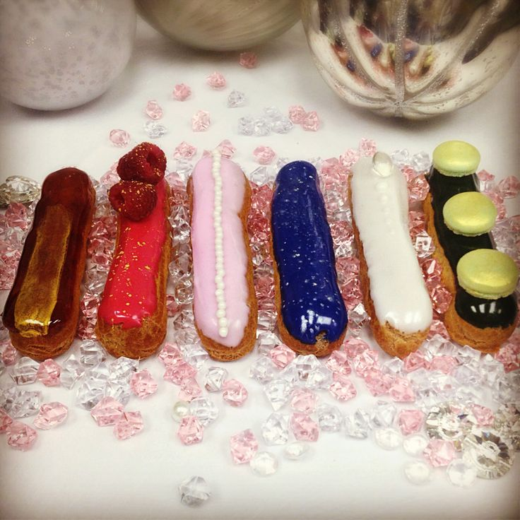 Jewel eclairs for this Valentines Day!  #Soirette #eclairs #ValentinesDay #amber #ruby #pearl #sapphire #diamond #emerald