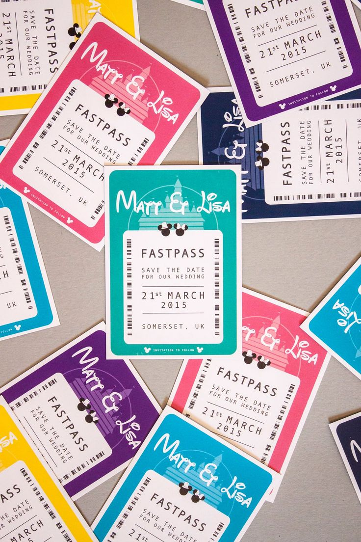 Matt & Lisa's Disney Wedding Save The Date/Invitation  :  A7 magnetic fast pass in an array of pop colours by www.paperbowlondon.com