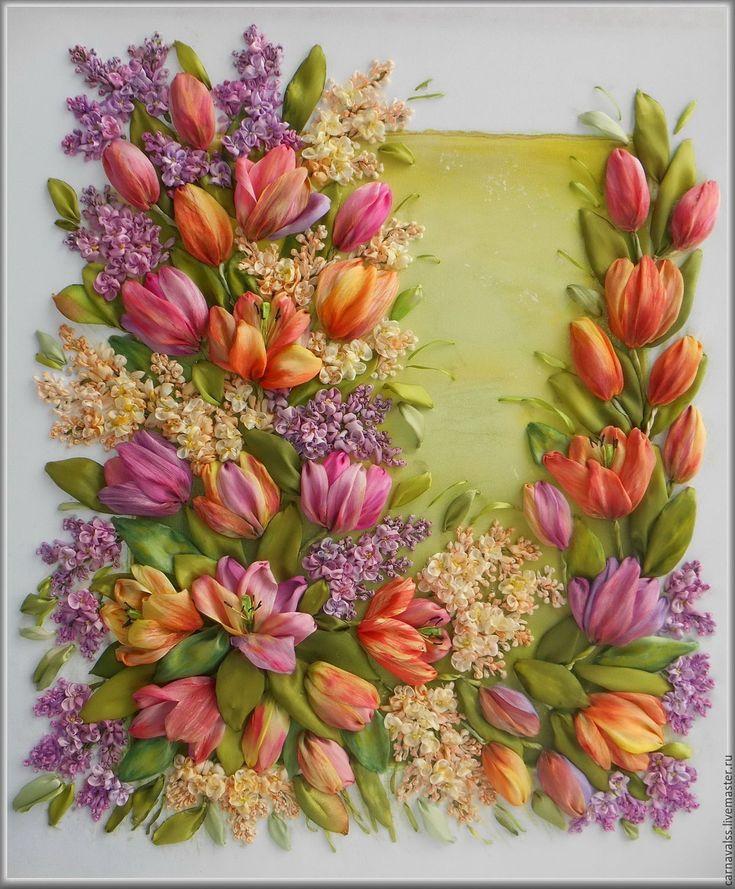 Купить Сирень и тюльпаны. - комбинированный, шелковые ленты, вышивка лентами картины, картина для интерьера