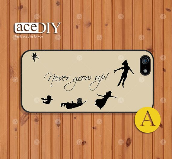 Never grow up, Peter Pan, Phone cases, iPhone 5 case, iPhone 5s case, iPhone 4 case, iPhone 4s case, Case for iPhone, Skins--A50431 on Etsy, $7.99