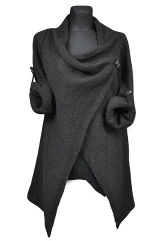 Elegant Cowl Neck Solid Color Slit Asymmetric Pullover Sweater For Women Sweaters & Cardigans | RoseGal.com Mobile