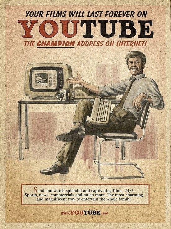 Vision rétro des réseaux sociaux du web Cette campagne de pub très bien réalisée, surf entre les vagues des nouvelles technologies et la mode du vintage des années 1960 Le clin d'oeil amusant de ces posters publicitaires ont été réalisés par l'agence...