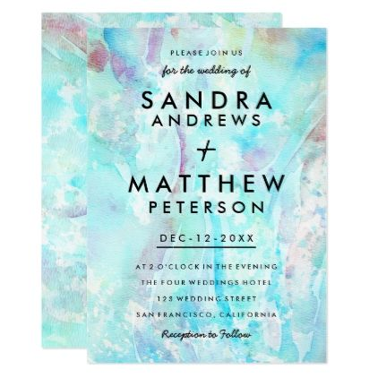 #Lavender blue pink watercolor modern Wedding Card - #wedding gifts #marriage love couples