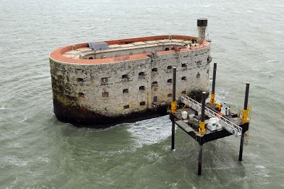 """A picture shows an aerial view of Fort Boyard, off the western coast of France, near La Rochelle. The fort is the filming location for the TV gameshow """"Fort Boyard"""" and is undergoing renovations."""