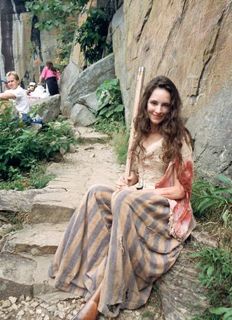 Last of The Mohicans' Madeleine Stowe off set at Chimney Rock Park, North Carolina