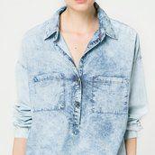 Chemise denim bleach - Blouses et chemises - Femme - MANGO
