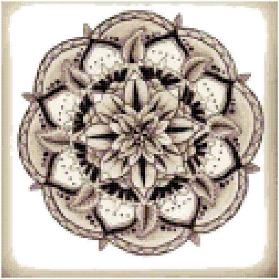 Mandala 1 Sepia Cross Stitch Printable Needlework Pattern - DIY Crossstitch Chart, Relaxing Hobby, Instant Download PDF Design