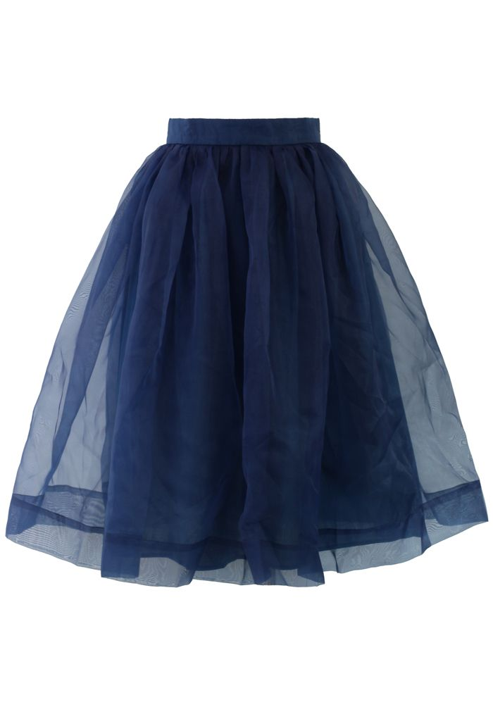 Another great skirt to wear over tights this fall - Blue Organza Midi Skirt by Chicwish | $43