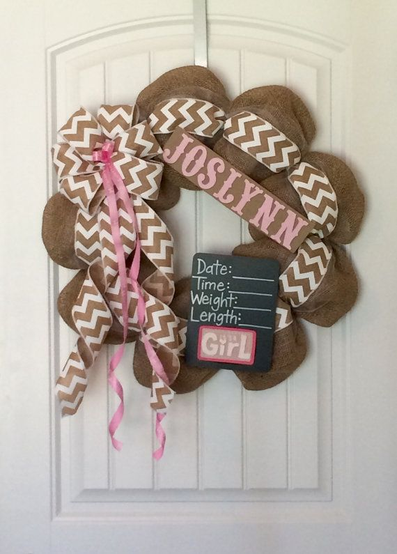 Baby Boy or Girl Nursey Hospital Door Burlap Chalkboard Wreath Custom Order It's a Girl #BayouBurlapandBling