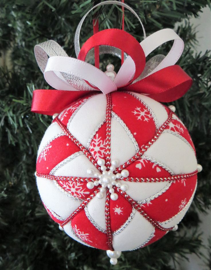 Christmas Ornament - Red and White Snowflake